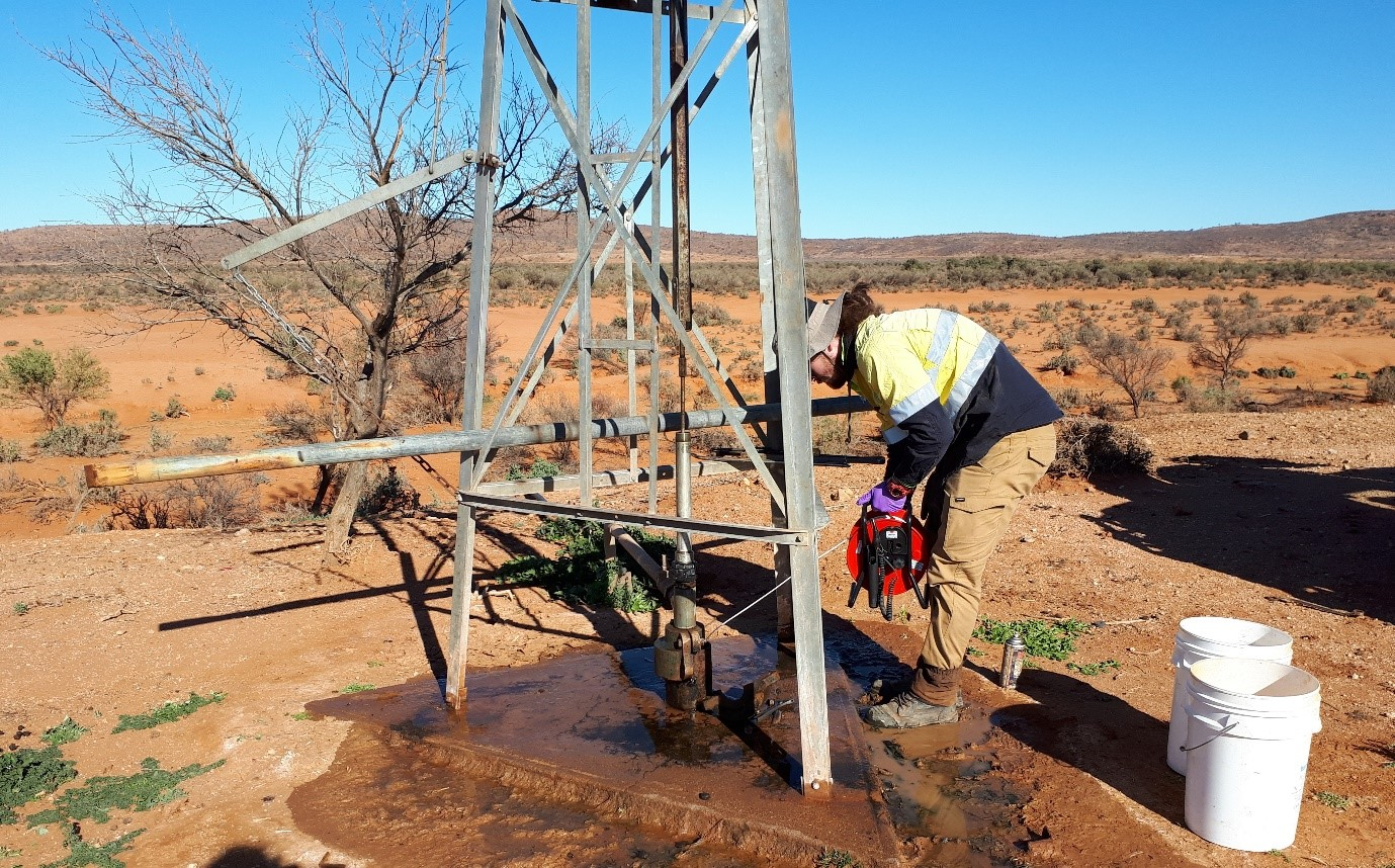 image of a team member working on groundwater assessment