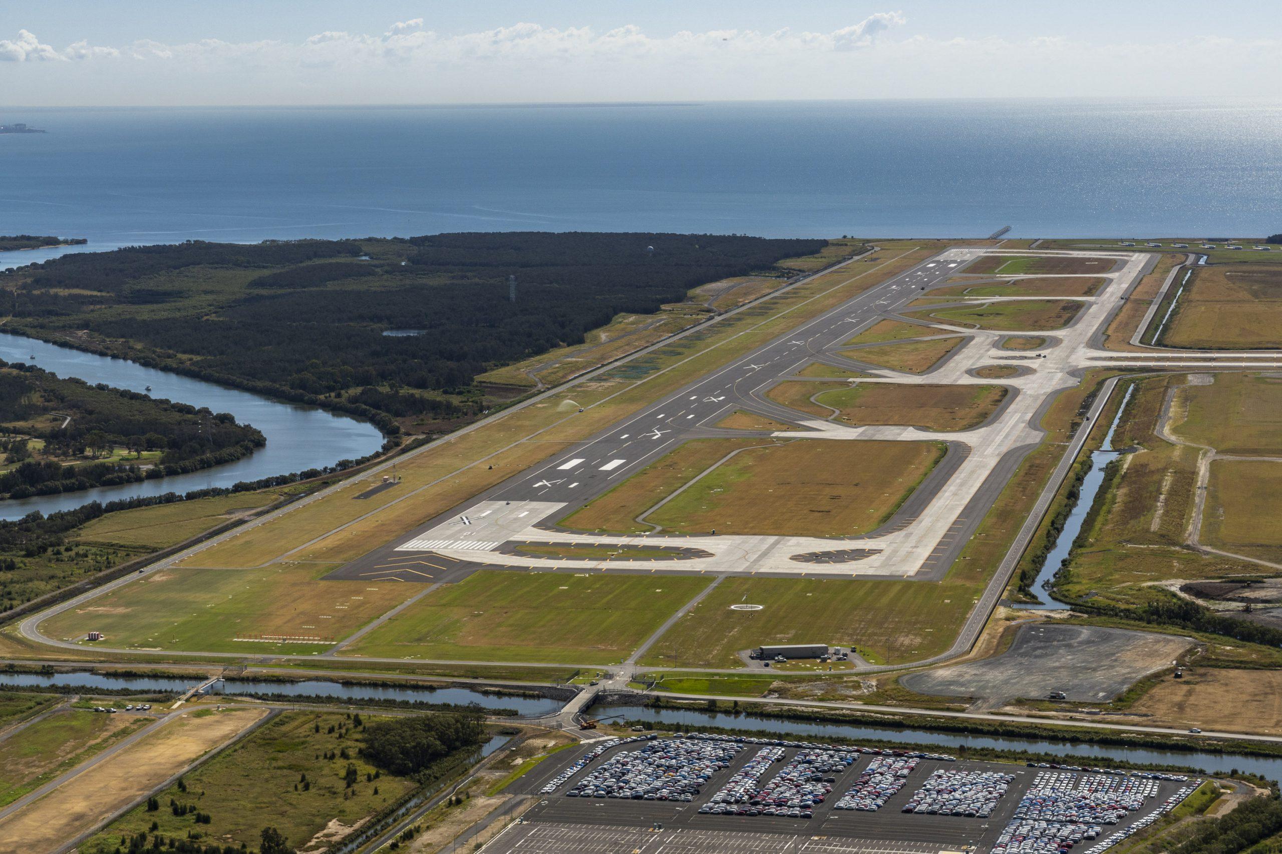 aerial image of the new Brisbane airport runway, April 2020