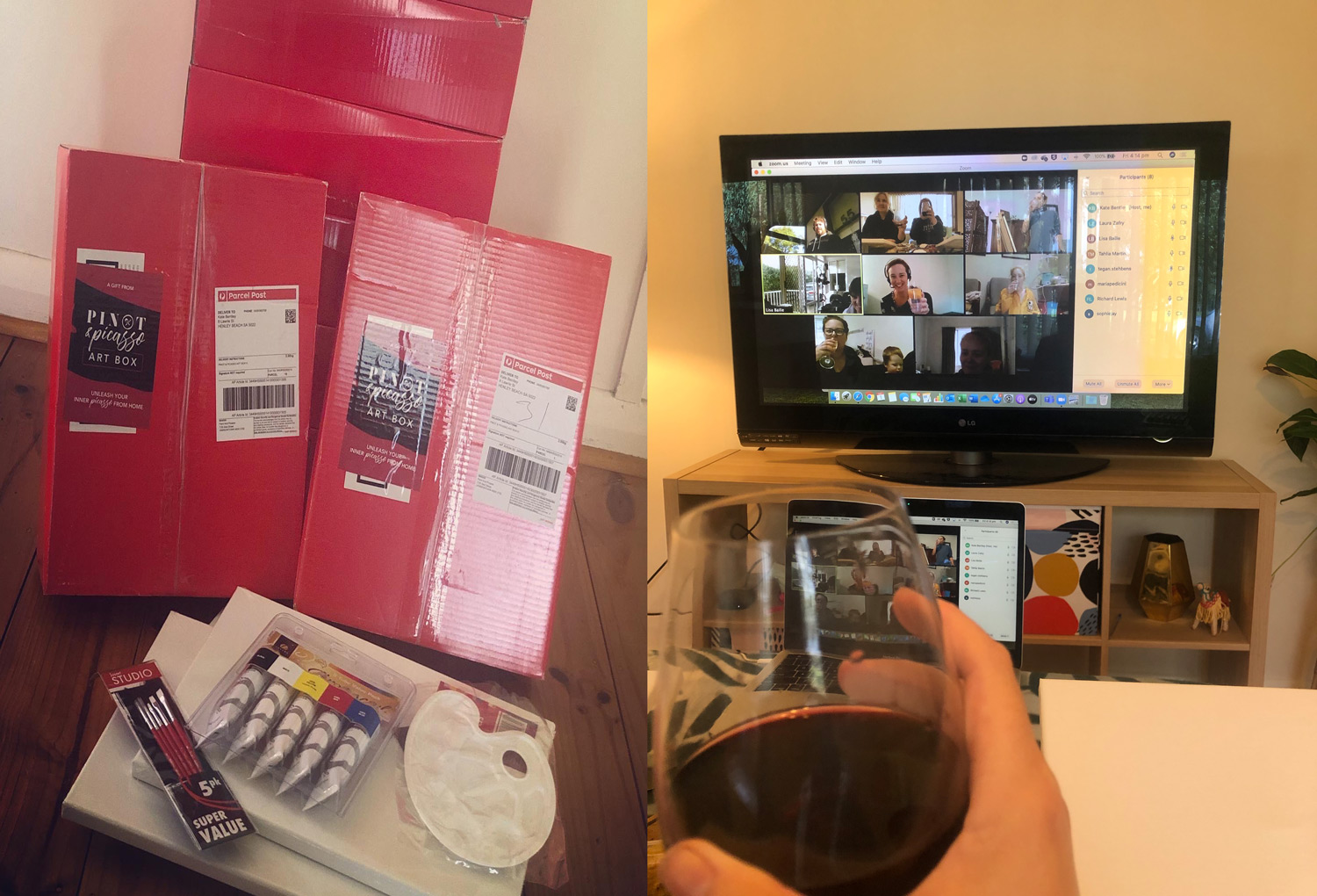 image of environmental project's social event, working from home online painting class via Zoom